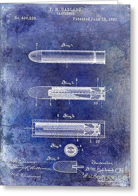 Machine Photographs Greeting Cards - 1890 Cartridge Patent Blue Greeting Card by Jon Neidert
