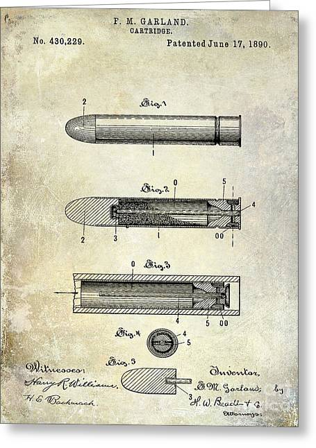 Machine Photographs Greeting Cards - 1890 Cartridge Patent Greeting Card by Jon Neidert