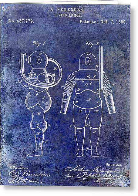 Divers Greeting Cards - 1890 Diving Armor Blue Greeting Card by Jon Neidert