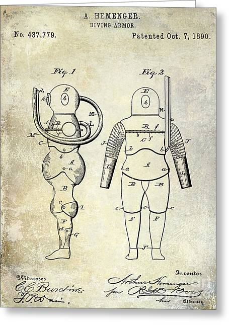 Divers Greeting Cards - 1890 Diving Armor Patent Greeting Card by Jon Neidert