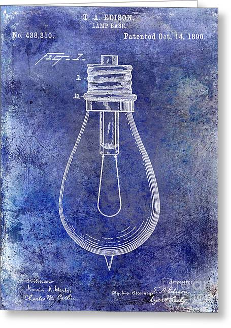 Edison Greeting Cards - 1890 Light Bulb Patent Blue Greeting Card by Jon Neidert