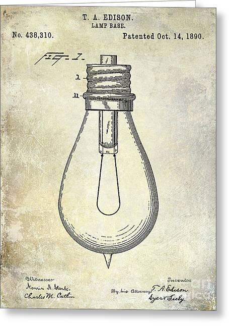 Edison Greeting Cards - 1890 Light Bulb Patent Greeting Card by Jon Neidert