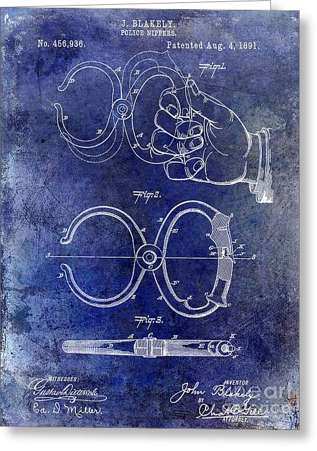 Handcuff Greeting Cards - 1891 Handcuff Patent blue Greeting Card by Jon Neidert