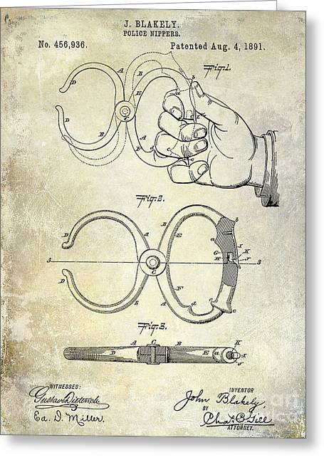 Handcuff Greeting Cards - 1891 Handcuff Patent Greeting Card by Jon Neidert