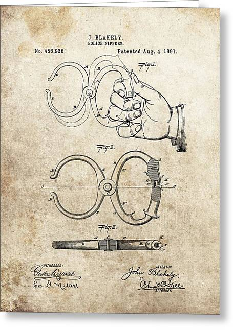Handcuff Greeting Cards - 1891 Handcuffs Patent Greeting Card by Dan Sproul