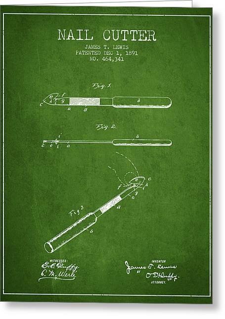 Cutter Greeting Cards - 1891 Nail Cutter Patent - Green Greeting Card by Aged Pixel