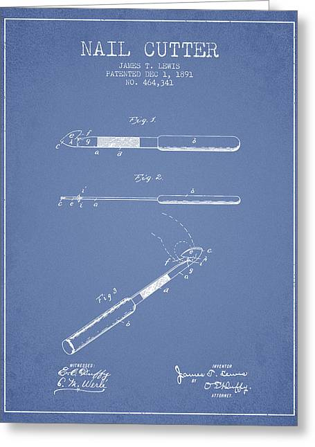Cutter Greeting Cards - 1891 Nail Cutter Patent - Light Blue Greeting Card by Aged Pixel