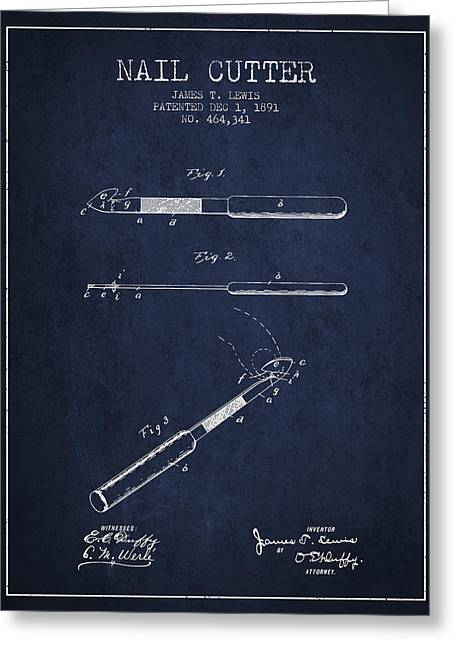 Cutter Greeting Cards - 1891 Nail Cutter Patent - Navy Blue Greeting Card by Aged Pixel