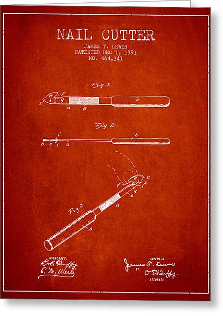 Cutter Greeting Cards - 1891 Nail Cutter Patent - Red Greeting Card by Aged Pixel