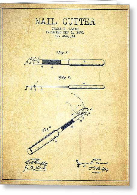 Cutter Greeting Cards - 1891 Nail Cutter Patent - Vintage Greeting Card by Aged Pixel