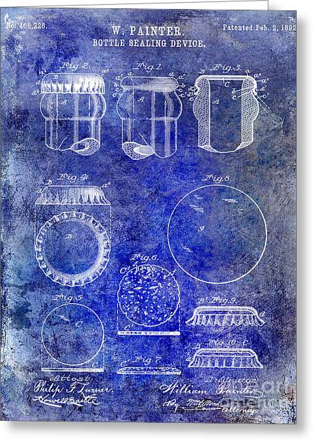 Stein Greeting Cards - 1892 Bottle Cap Patent Blue Greeting Card by Jon Neidert