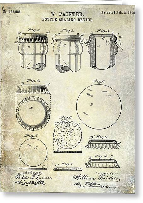 Stein Greeting Cards - 1892 Bottle Cap Patent  Greeting Card by Jon Neidert
