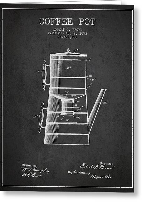 Pot Drawings Greeting Cards - 1892 Coffee Pot patent - Charcoal Greeting Card by Aged Pixel