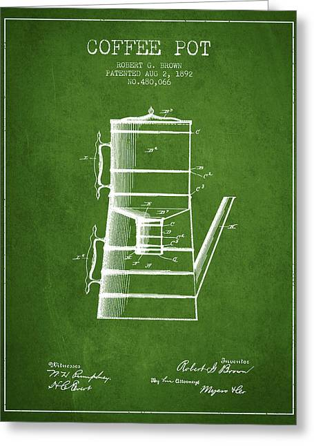 Pot Drawings Greeting Cards - 1892 Coffee Pot patent - Green Greeting Card by Aged Pixel