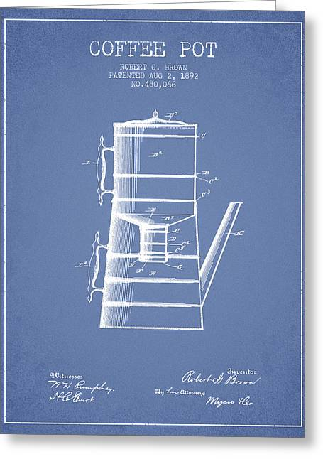 Pot Drawings Greeting Cards - 1892 Coffee Pot patent - Light Blue Greeting Card by Aged Pixel