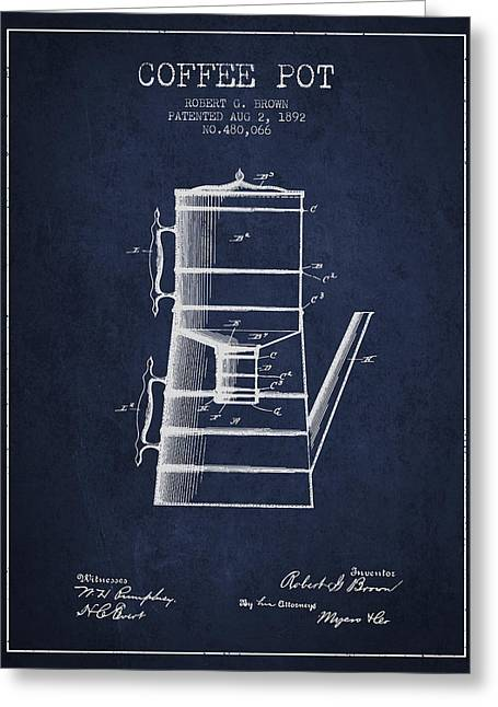 Pot Drawings Greeting Cards - 1892 Coffee Pot patent - Navy Blue Greeting Card by Aged Pixel