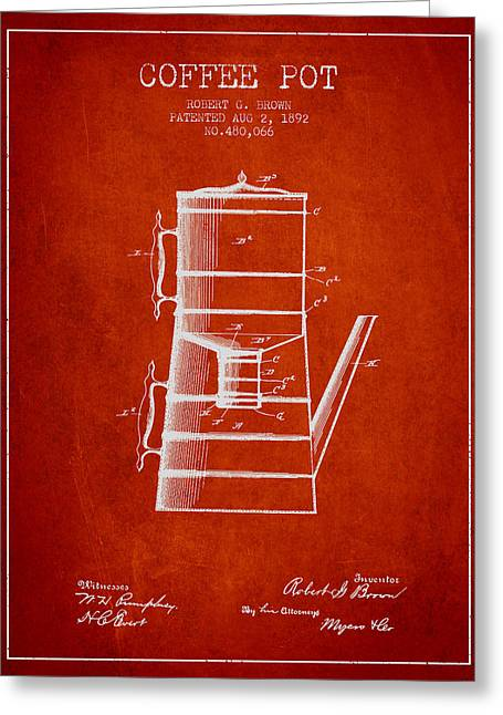 Pot Drawings Greeting Cards - 1892 Coffee Pot patent - Red Greeting Card by Aged Pixel