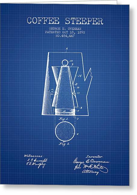Cafe Drawings Greeting Cards - 1892 Coffee Steeper patent - Blueprint Greeting Card by Aged Pixel