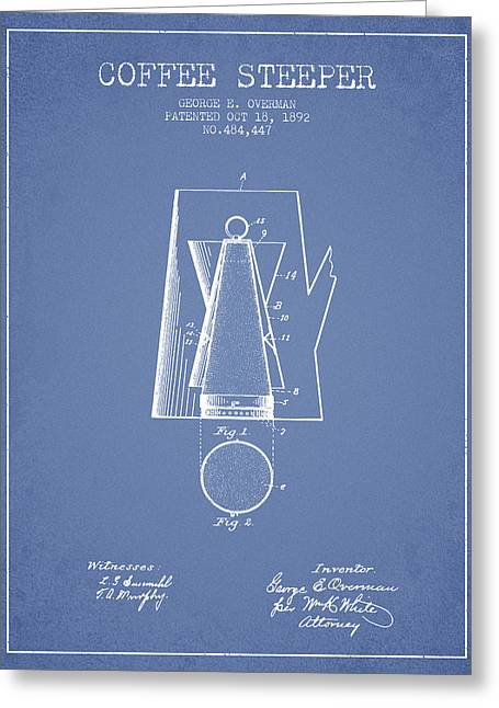 Cafe Drawings Greeting Cards - 1892 Coffee Steeper patent - Light Blue Greeting Card by Aged Pixel