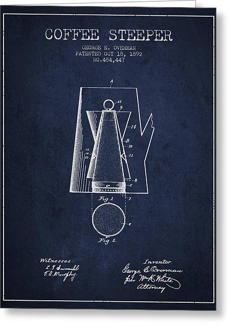Cafe Drawings Greeting Cards - 1892 Coffee Steeper patent - Navy Blue Greeting Card by Aged Pixel