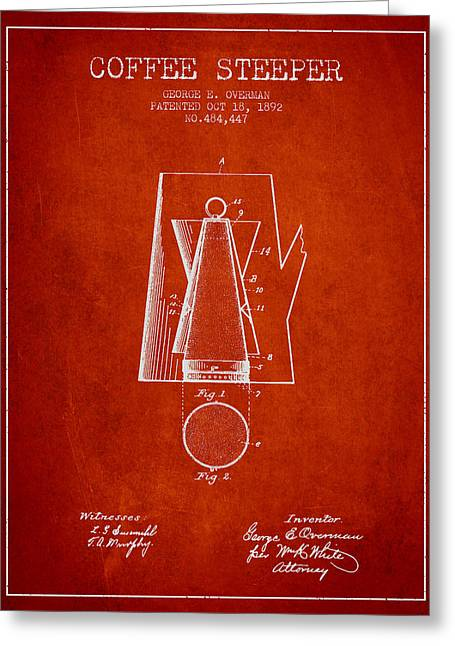 Cafe Drawings Greeting Cards - 1892 Coffee Steeper patent - Red Greeting Card by Aged Pixel