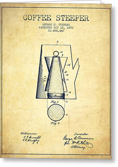 Cafe Drawings Greeting Cards - 1892 Coffee Steeper patent - Vintage Greeting Card by Aged Pixel