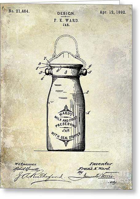 Jars Greeting Cards - 1892 Jar Patent  Greeting Card by Jon Neidert