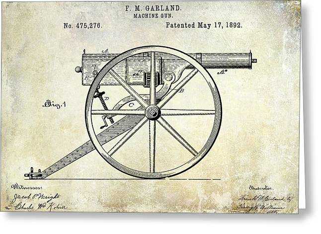 Machine Photographs Greeting Cards - 1892 Machine Gun Patent Greeting Card by Jon Neidert