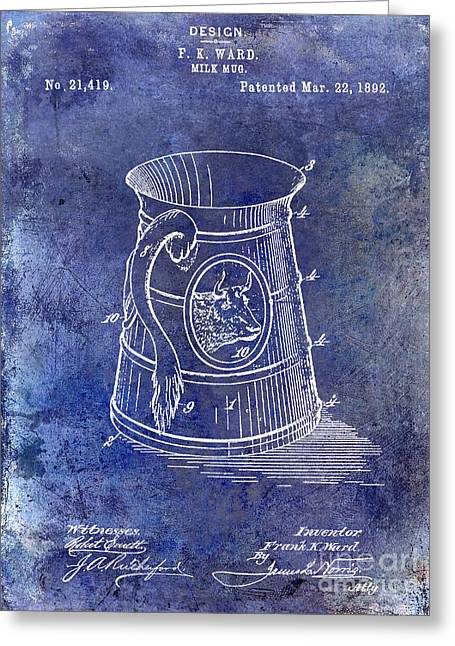 Mug Greeting Cards - 1892 Milk Mug Patent Blue Greeting Card by Jon Neidert