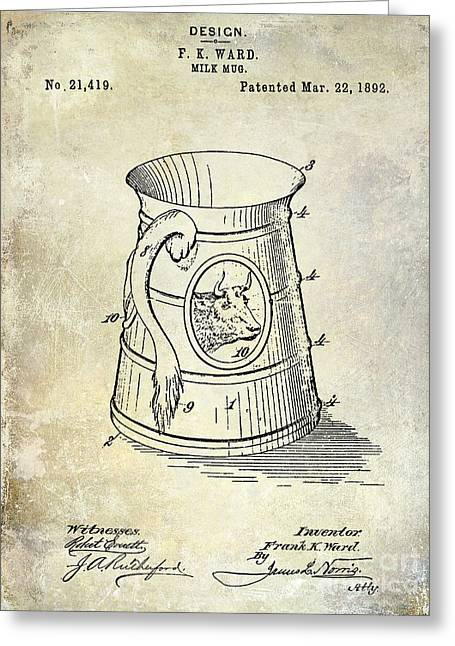 Mug Greeting Cards - 1892 Milk Mug Patent Greeting Card by Jon Neidert