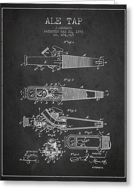 1893 Ale Tap Patent - Charcoal Greeting Card by Aged Pixel