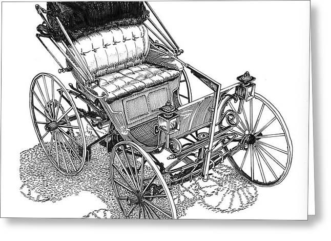 1893 Duryea Motor Wagon Greeting Card by Jack Pumphrey