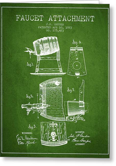 Tap Drawings Greeting Cards - 1893 Faucet attachment Patent - Green Greeting Card by Aged Pixel