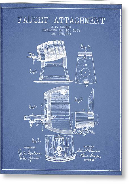 Tap Drawings Greeting Cards - 1893 Faucet attachment Patent - Light Blue Greeting Card by Aged Pixel