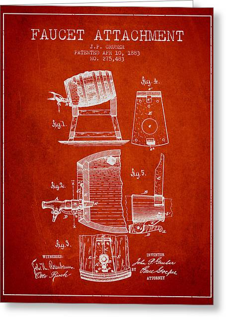 Tap Drawings Greeting Cards - 1893 Faucet attachment Patent - Red Greeting Card by Aged Pixel