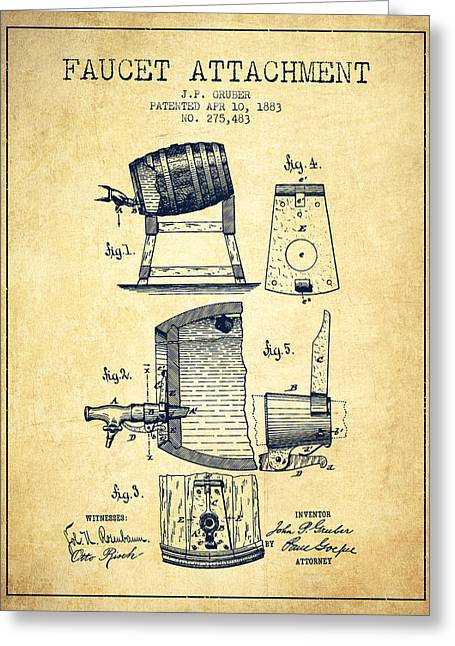 Tap Drawings Greeting Cards - 1893 Faucet attachment Patent - Vintage Greeting Card by Aged Pixel