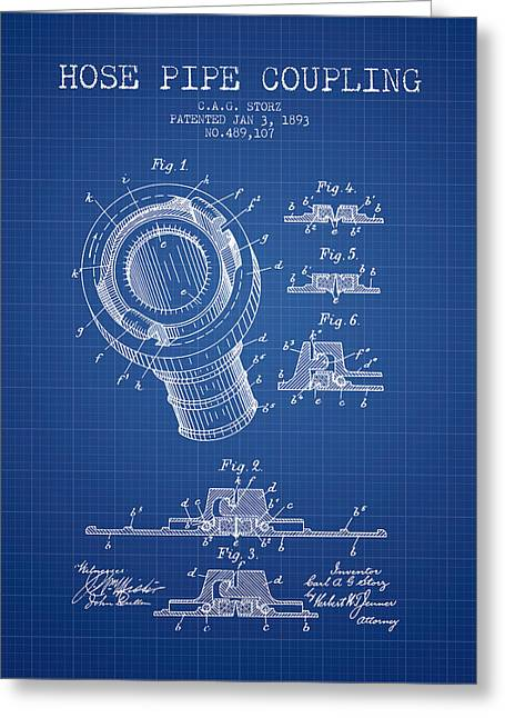 Rescue Greeting Cards - 1893 Hose Pipe Coupling Patent - Blueprint Greeting Card by Aged Pixel