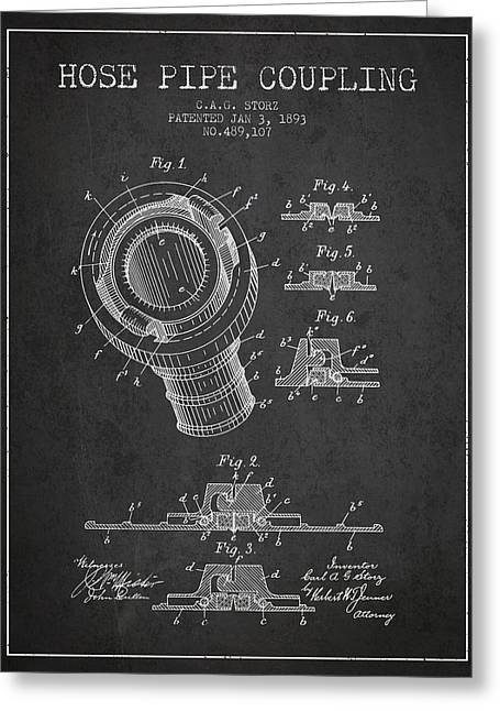 Rescue Greeting Cards - 1893 Hose Pipe Coupling Patent - Charcoal Greeting Card by Aged Pixel