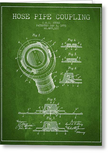 Rescue Greeting Cards - 1893 Hose Pipe Coupling Patent - Green Greeting Card by Aged Pixel