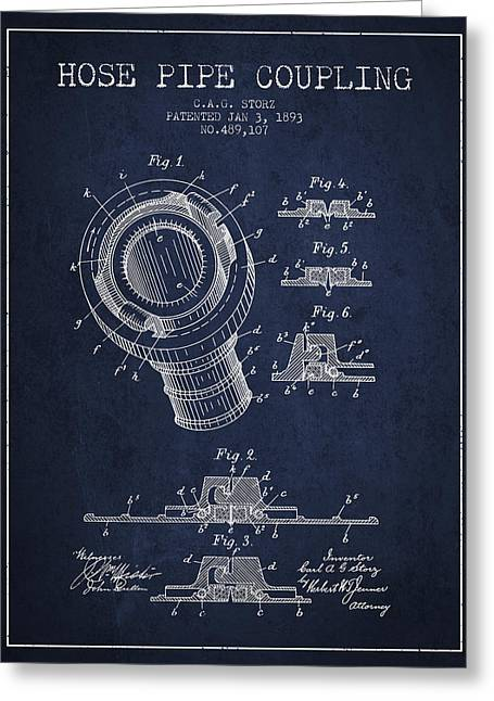 Rescue Greeting Cards - 1893 Hose Pipe Coupling Patent - Navy Blue Greeting Card by Aged Pixel