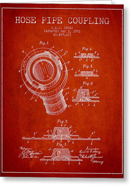Rescue Greeting Cards - 1893 Hose Pipe Coupling Patent - Red Greeting Card by Aged Pixel
