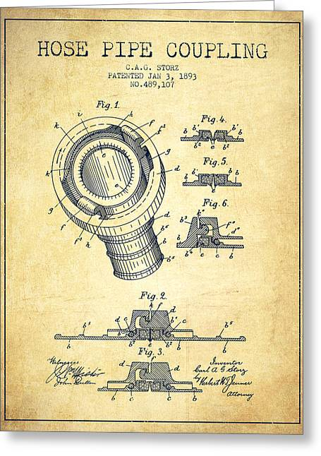 Rescue Greeting Cards - 1893 Hose Pipe Coupling Patent - Vintage Greeting Card by Aged Pixel