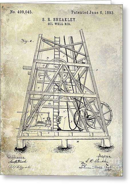 1893 Oil Well Rig Patent Greeting Card by Jon Neidert
