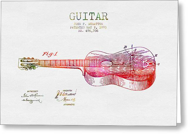 Guitar Drawings Greeting Cards - 1893 Stratton guitar patent - color Greeting Card by Aged Pixel