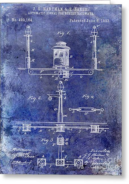 Train Car Greeting Cards - 1893 Street Railway Signal Patent Blue Greeting Card by Jon Neidert