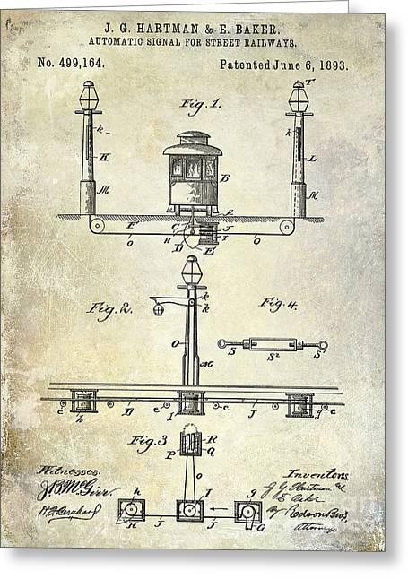 1893 Street Railway Signal Patent Greeting Card by Jon Neidert
