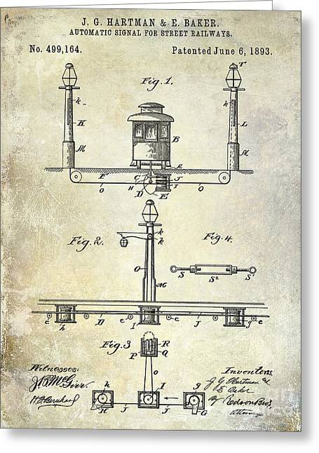 Train Car Greeting Cards - 1893 Street Railway Signal Patent Greeting Card by Jon Neidert