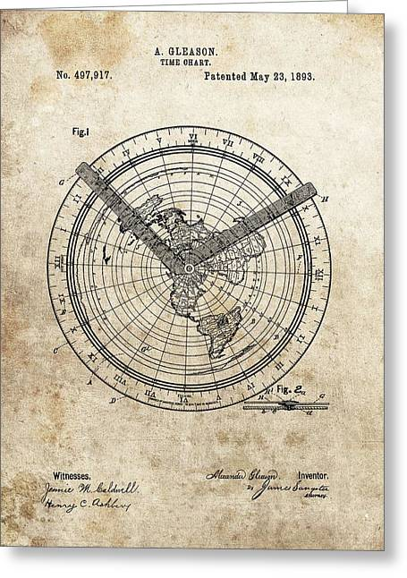 1893 Time Chart Patent Greeting Card by Dan Sproul