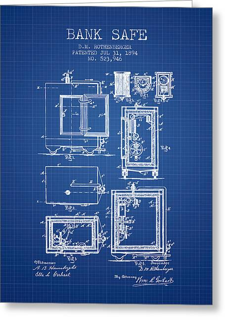 Bank Art Greeting Cards - 1894 Bank Safe Patent - blueprint Greeting Card by Aged Pixel