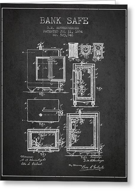 Bank Art Greeting Cards - 1894 Bank Safe Patent - Charcoal Greeting Card by Aged Pixel